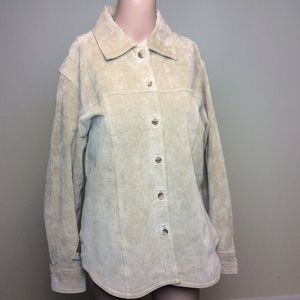 AMI Leather Suede Button up Jacket Coat Blazer Tan